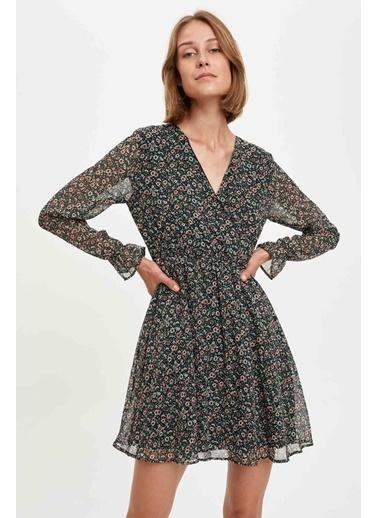 DeFacto Desenli Belden Bağlama Detaylı Uzun Kollu Dokuma Elbise Siyah